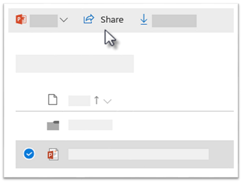 Screenshot of selecting a file and clicking the Share command